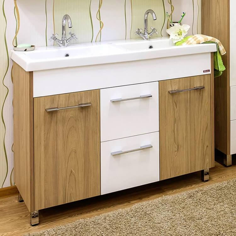Фото напольной тумбы с раковиной в ванную с ножками