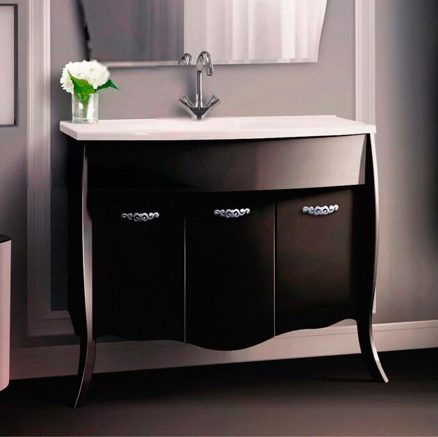Напольная тумба с раковиной в ванную черного цвета