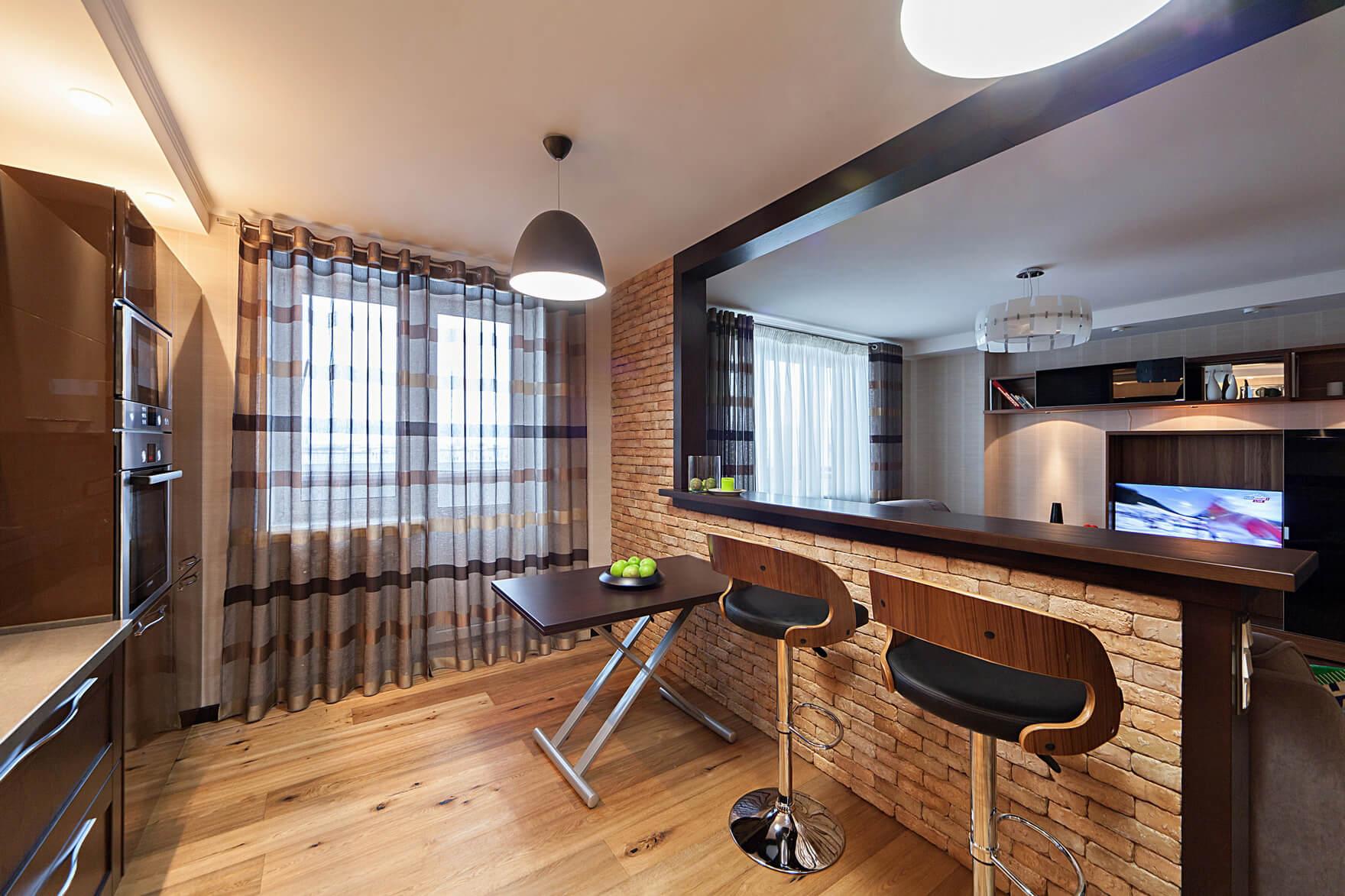 кухня гостиная с барной стойкой в интерьере