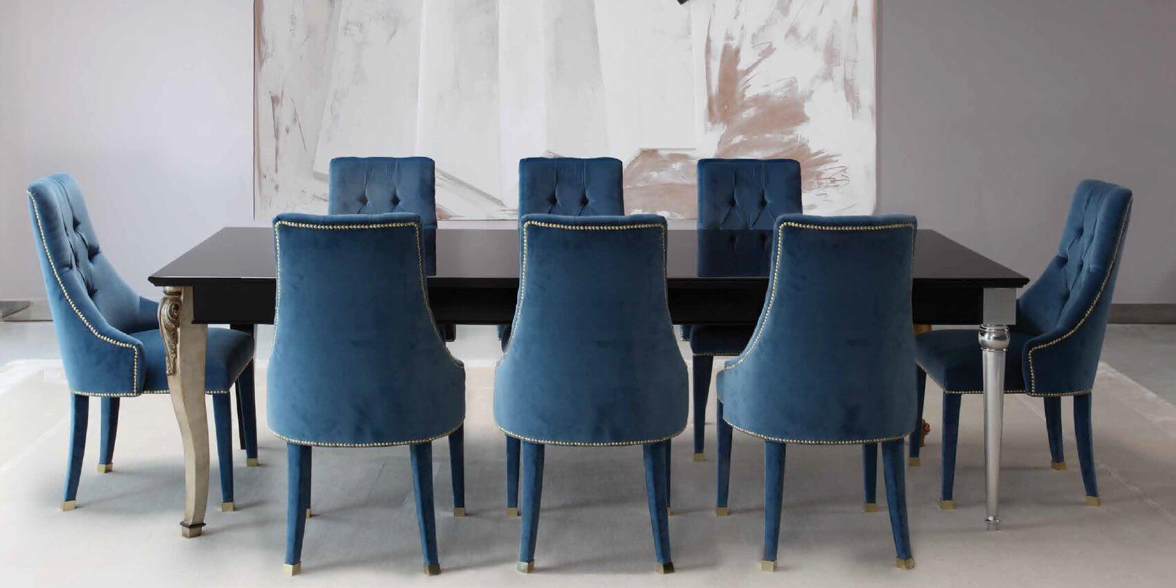 Синие мягкие стулья для кухни
