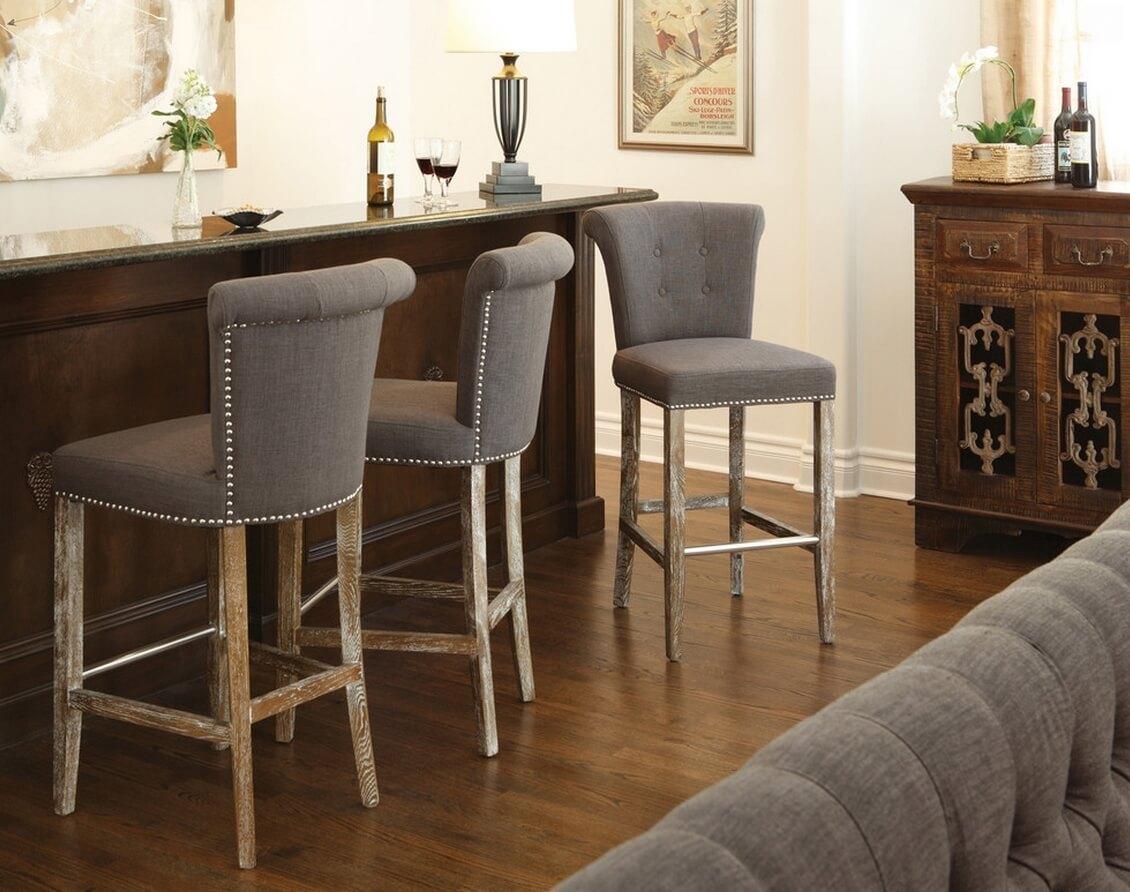 Мягкие стулья для кухни серого цвета