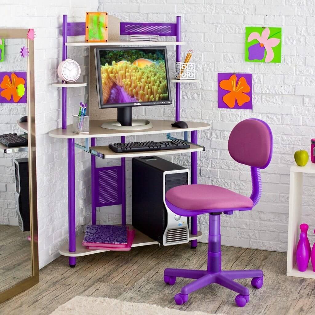 Стул для школьника регулируемый по высоте фиолетового цвета