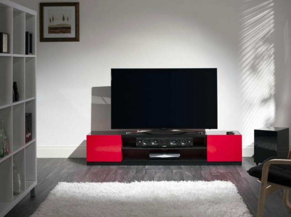 Тумбочка под телевизор красного цвета